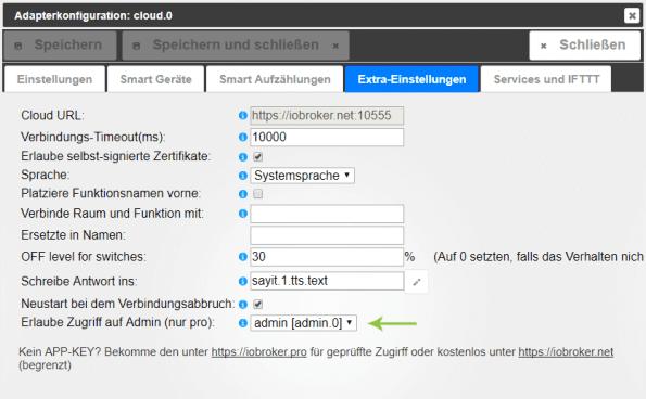 ioBroker Fernzugriff via Cloud Pro