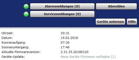 Übersicht Homematic Geräte Firmware Update verfügbar