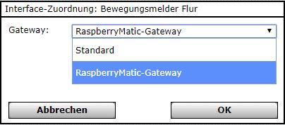 RaspberryMatic LAN-Gateway Zuordnung