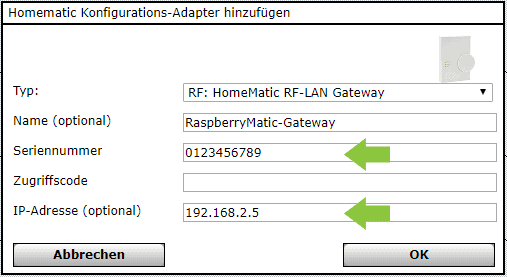 Raspberrymatic LAN-Gateway anlernen IP und Serial